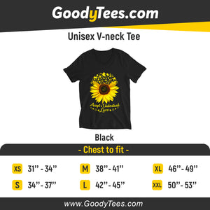 Accept Love Yellow Sunflower Puzzle Awareness Unisex V-Neck Shirt
