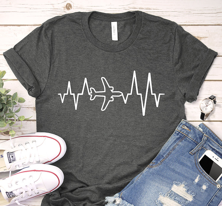 Airplane Heartbeat Ecg Pilot Aviator Tattoo Graduate Shirt