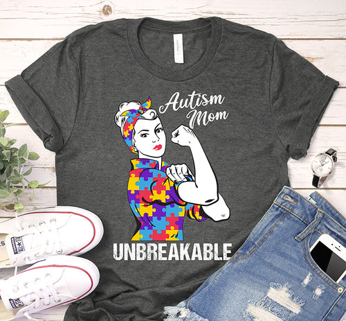 Autism Mom Unbreakable Puzzle Piece We Can Do It Awareness Shirt