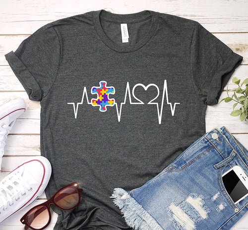 Autism Puzzle Heartbeat Awareness Day Shirt