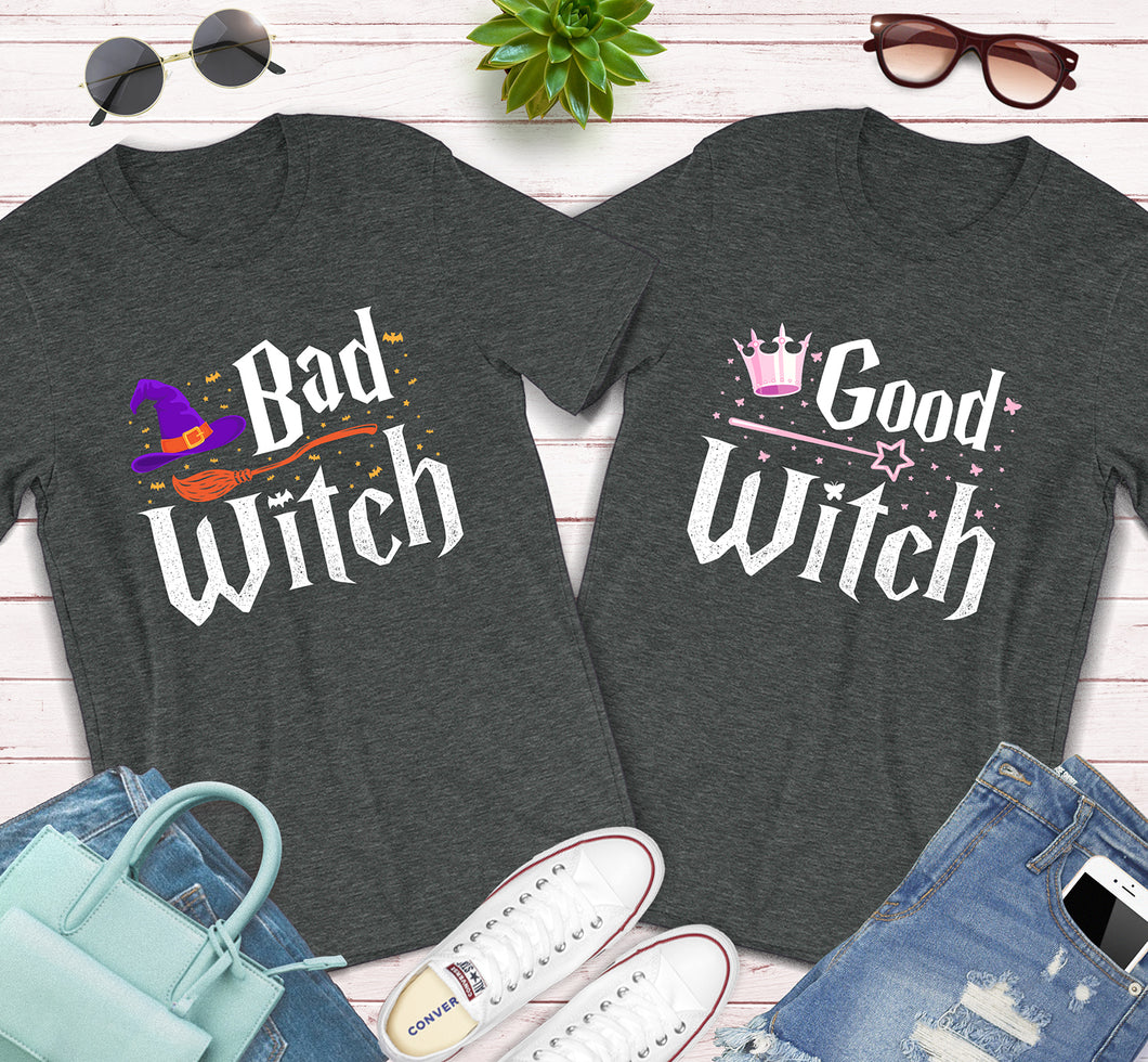 Bad Witch Good Witch BFF Best Friends Matching Halloween Shirts
