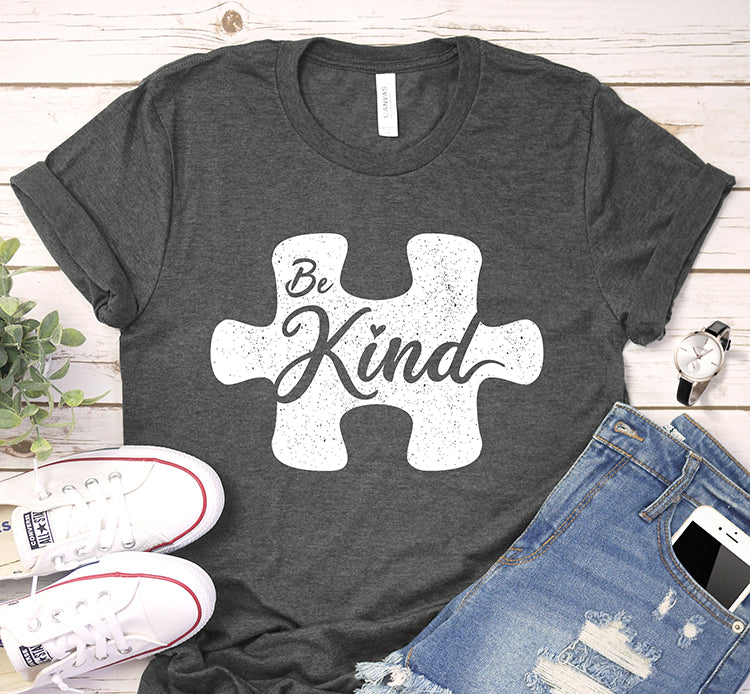 Be Kind Autism Puzzle Piece Awareness Shirt