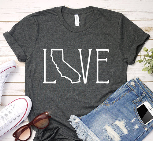 California USA State Love Art Map Traveling Shirt