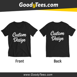 Front And Back Print Side Custom Design Unisex V-neck Shirt