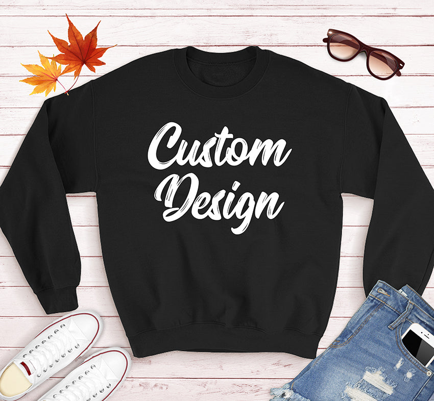 Custom Design Print on Front and Back side For your Unisex Crew Neck Sweatshirt Gildan in Black Grey Heather and Navy Colors