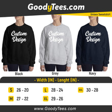 Load image into Gallery viewer, Customize Your Own Unisex Crew Neck Sweatshirt Gildan in Black Grey Heather and Navy Colors On Front And Back Print Sides