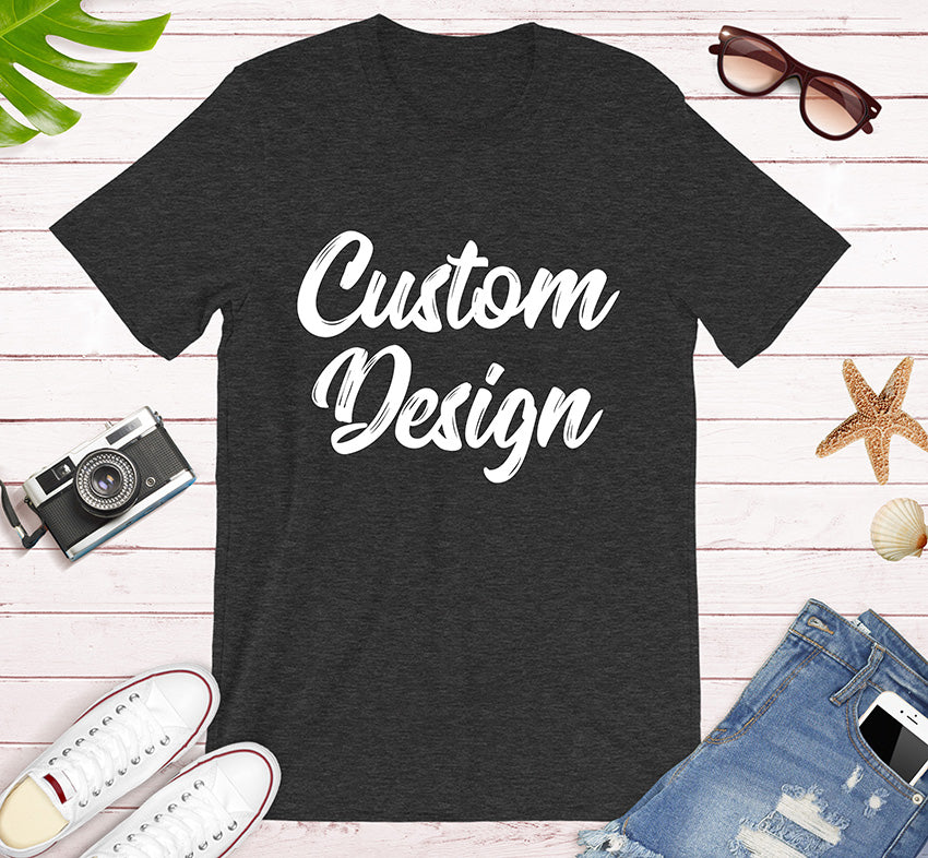 Custom Design Print on Front and Back side For your Unisex Premium T-Shirt Bella Canvas for Men and Women in Black Dark Grey Heather and Navy Colors