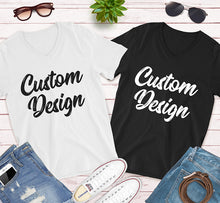 Load image into Gallery viewer, Custom Design Print on Front and Back side For your Unisex V-Neck Tee Bella Canvas for Men and Women in Black And White Colors