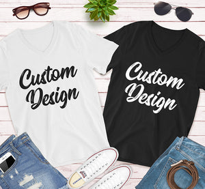Custom Design Print on Front and Back side For your Unisex V-Neck Tee Bella Canvas for Men and Women in Black And White Colors