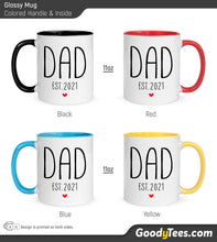 Load image into Gallery viewer, Dad Est 2021 New Father Couples Matching Glossy Mugs Colored Handle and Inside