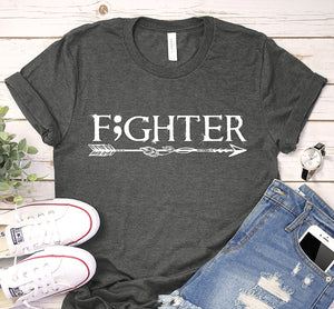 Fighter Semicolon Boho Feather Arrow Cancer And Suicide Awareness Shirt
