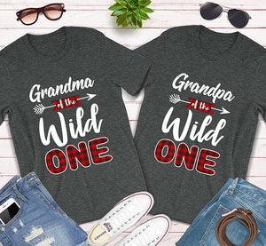 Grandma and Grandpa of The Wild One Plaid Lumberjack Matching Shirts