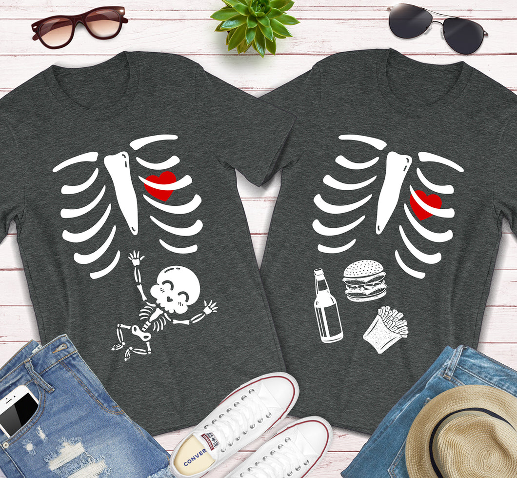 Halloween Skeleton Baby Costume Pregnancy Announcement Matching Shirts
