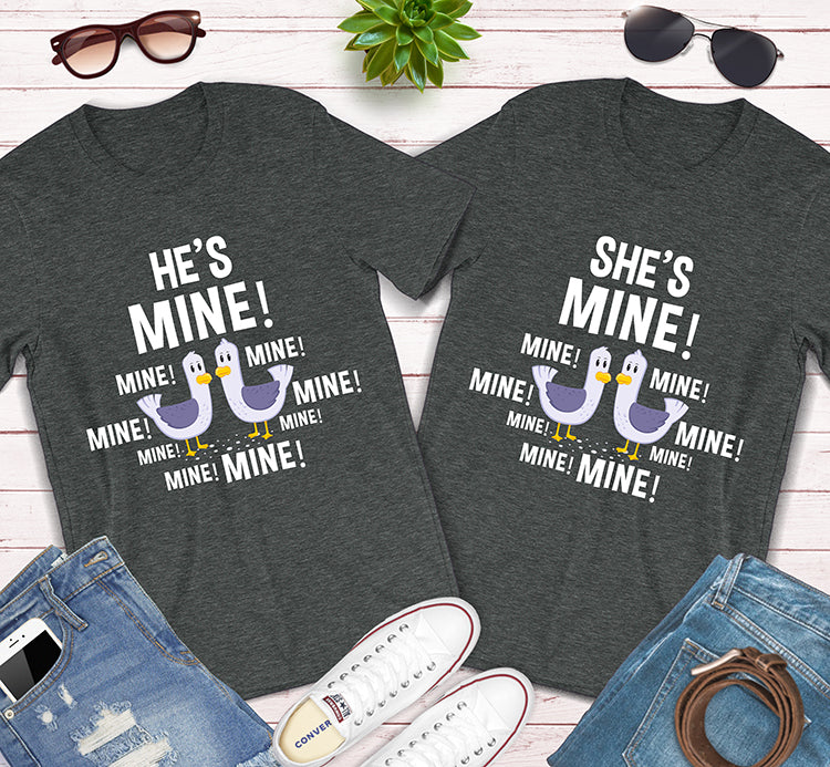 He's Mine She's Mine Finding Nemo Seagull Couples Matching Shirts