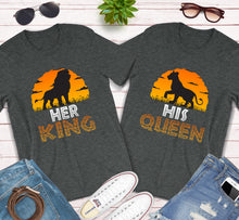 Load image into Gallery viewer, Her King His Queen Lion King Disney Couples Matching Shirts
