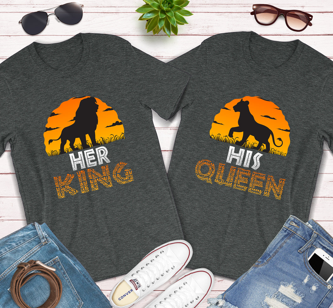 Her King His Queen Lion King Disney Couples Matching Shirts