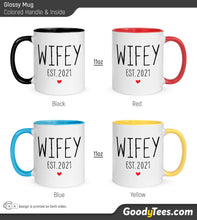 Load image into Gallery viewer, Wifey New Wife Est 2021 Glossy Mug Colored Handle and Inside
