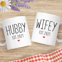 Load image into Gallery viewer, Hubby And Wifey Est 2021 Wedding Matching Ceramic Coffee Mugs