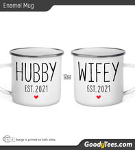 Load image into Gallery viewer, Hubby And Wifey Established 2021 Newlywed Gift Enamel Camping Mug