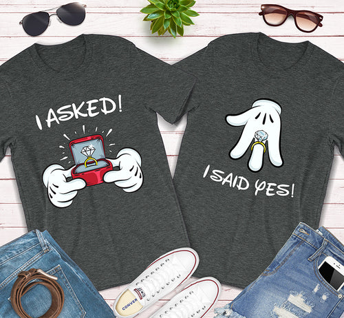 I Asked I Said Yes Disney Mickey And Minnie Engagement Couples Shirt