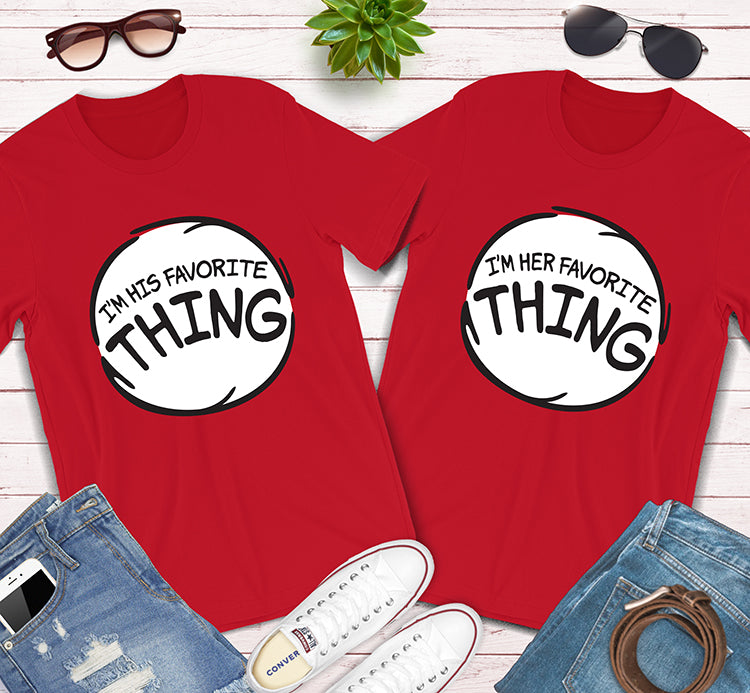 I'm His and Her Favorite Thing Doctor Seuss The Cat In The Hat Matching Shirts