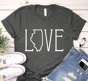Illinois USA State Love Art Map Traveling Shirt