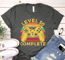 Load image into Gallery viewer, Level 30 Complete 30th Birthday Vintage Game Controller Shirt