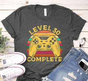 Level 30 Complete 30th Birthday Vintage Game Controller Shirt