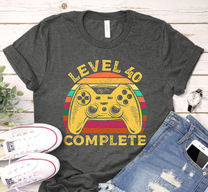 Level 40 Complete 40th Birthday Vintage Game Controller Shirt
