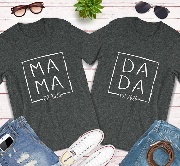 Mama Dada Established 2020 Pregnancy Announcement Matching Couples Shirts