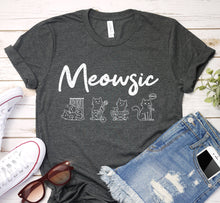Load image into Gallery viewer, Meowsic Cat Music Instruments Melody Notes Shirt