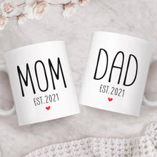 Load image into Gallery viewer, Mom And Dad Est 2021 New Parents Matching Ceramic Coffee Mugs