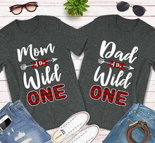 Load image into Gallery viewer, Mom Of The Wild One Dad Of The Wild One Plaid Lumberjack 1st Birthday Shirt