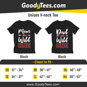 Funny Mom and Dad of The Wild One Matching Family V-neck Unisex Shirt 1st Birthday Gift