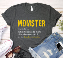 Load image into Gallery viewer, Momster What Happens To Mom After She Counts To Three Mom Word Definition Halloween Shirt
