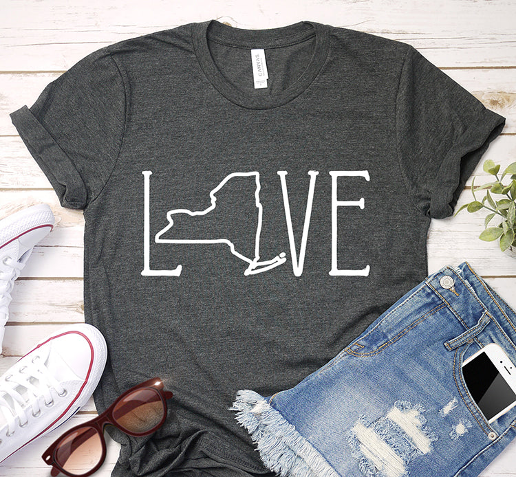 New York USA State Love Art Map Traveling Shirt