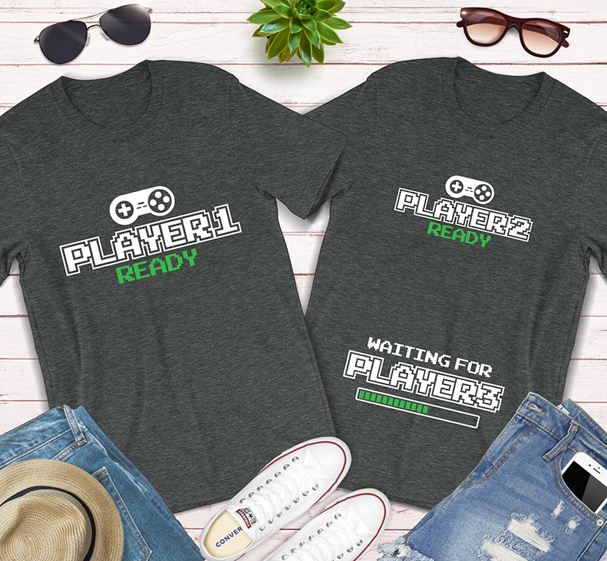 Player 1 Player 2 Waiting For Player 3 Pregnancy Announcement Matching Shirts