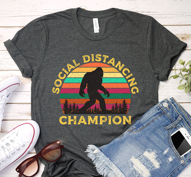 Social Distancing Champion Bigfoot Sasquatch Quarantine Vintage Shirt