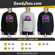 Load image into Gallery viewer, Stay Out Of The Forest SSDGM Podcast Retro Sun Unisex Sweatshirt