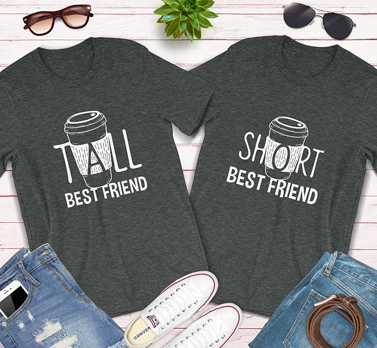 Tall And Short Best Friends BFF Coffee Latte Matching Shirts