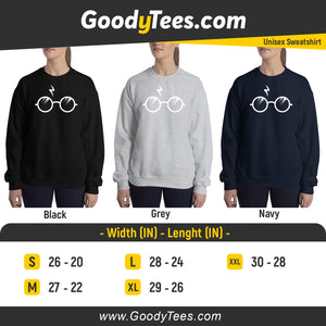 Harry Potter Fan Round Glasses And Scar Unisex Sweatshirt