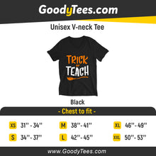 Load image into Gallery viewer, Tick Or Teach Middle School Teacher Halloween Unisex V-neck Shirt
