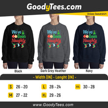 Load image into Gallery viewer, I've Been Naughty Xmas Balls Pregnancy Matching Unisex Sweatshirt