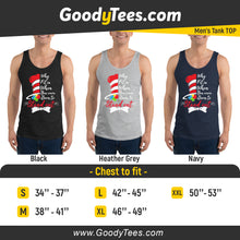 Load image into Gallery viewer, Born To Stand Out Autism Cat In The Hat Awareness Men's Tank Top