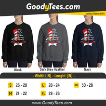 Load image into Gallery viewer, Why Fit In Cat In The Hat Puzzle Piece Awareness Unisex Sweatshirt