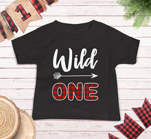 Load image into Gallery viewer, Wild One First Birthday Plaid Lumberjack Shirt