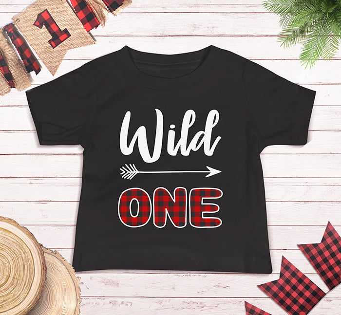 Wild One First Birthday Plaid Lumberjack Shirt