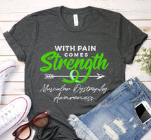Load image into Gallery viewer, With Pain Comes Strength Muscular Dystrophy Green Ribbon Awareness Shirt