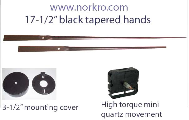 large wall clock kit. Long tapered clock hands, high torque movement and mounting cup set