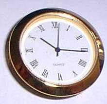 "1-7/16"" clock fit up, white background w/Roman numerals"